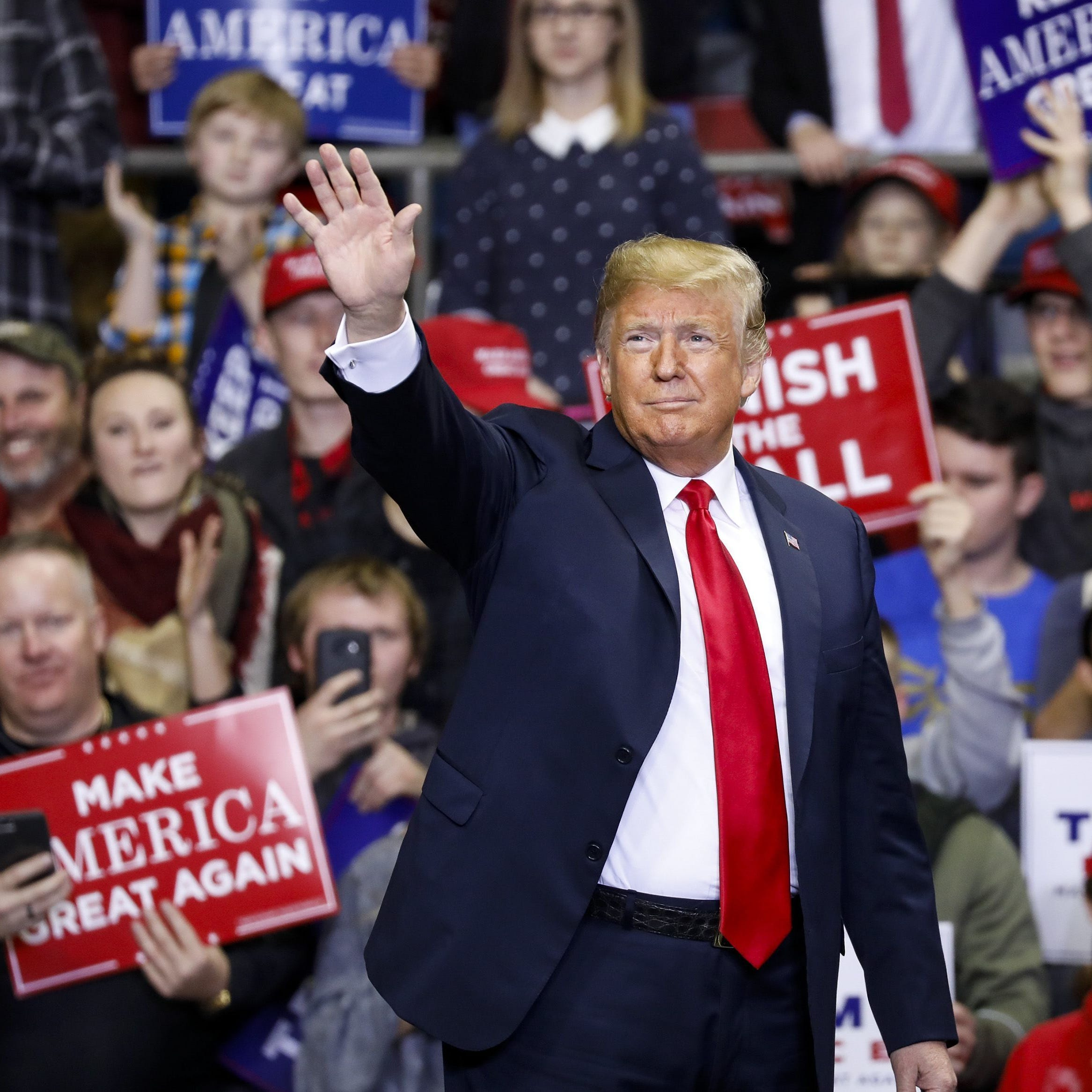President Trump arrives for a campaign rally at the County War Memorial Coliseum on Nov. 5, 2018, in Fort Wayne, Indiana.