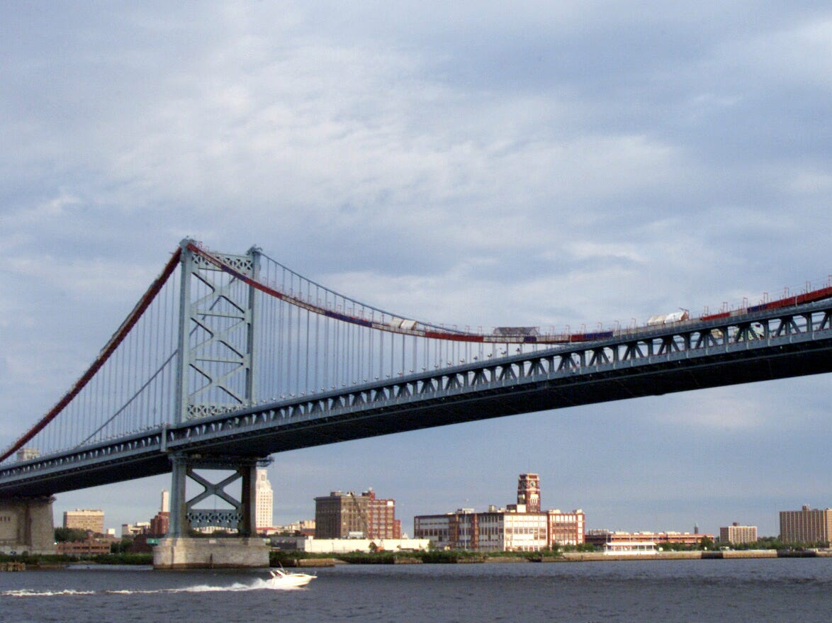 7/14/2000 -- Philadelphia, PA  --  A view  of the Benjamin Franklin Bridge and the Camden, NJ waterfront as seen from Philadelphia.   The bridge, which spans the Delaware River, connects Camden with Philadelphia, site of the 2000 GOP convention. ORG XMIT: CAMDEN SKYLINE1   040