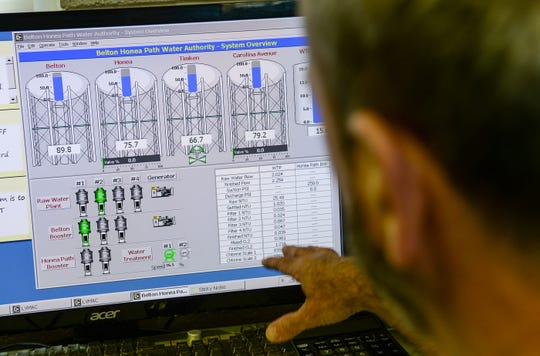Mitch Ellenburg, general manager at the Belton Honea Path Water Authority in Honea Path looks over water tank levels from the control center at the plant on Friday.