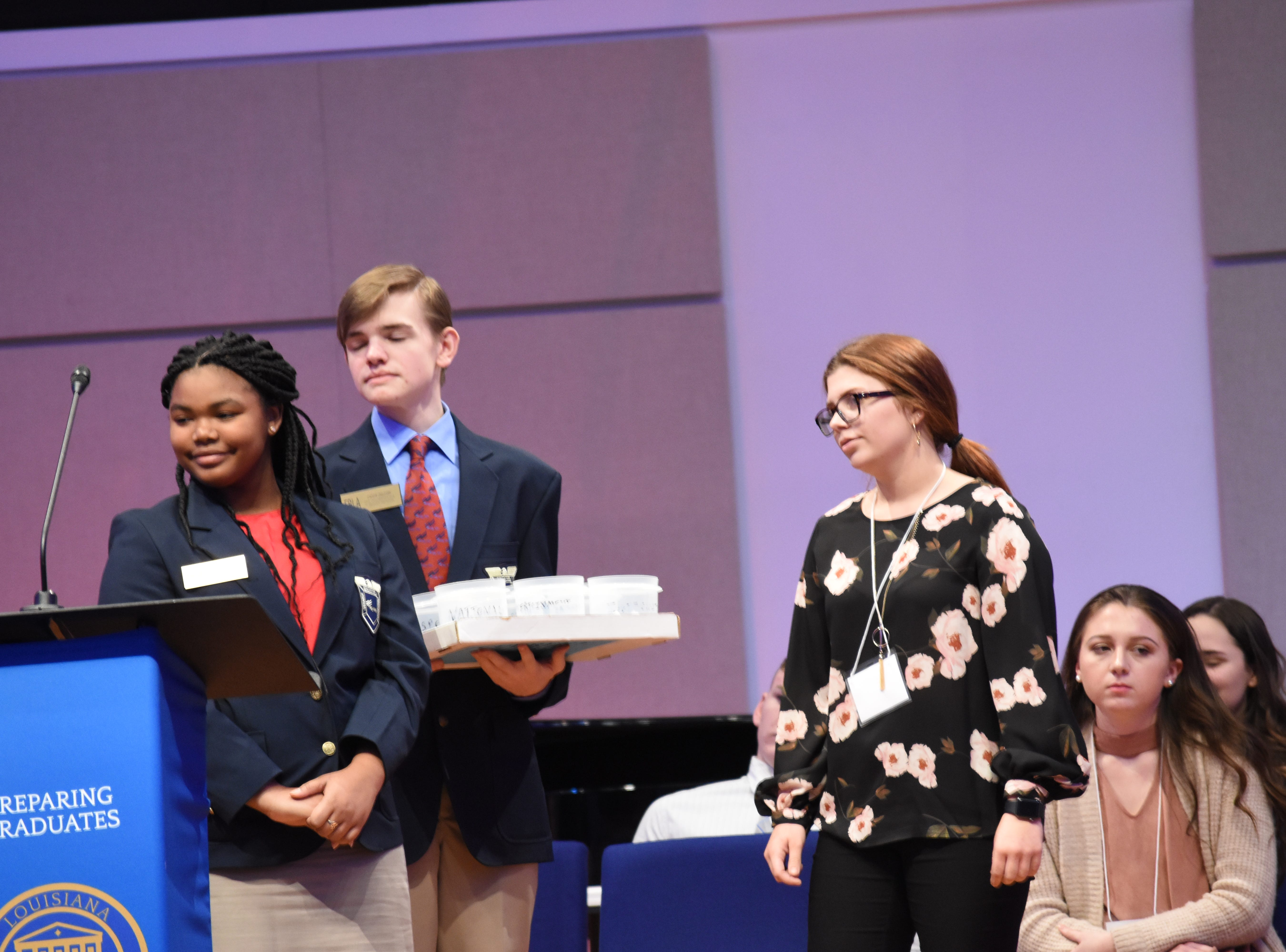 Future Business Leaders of America students play a game where they answer questions about current events. The Pitkin High School Chapter of the Future Business Leaders of America hosted its annual conference at Louisiana College Thursday, Jan. 254, 2019. About 500 students from various high schools throughout the region attended. Students took various tests in subjects such as advertising, economics and business math and attended classes in subjects such as broadcast journalism, impromptu speaking and public speaking.