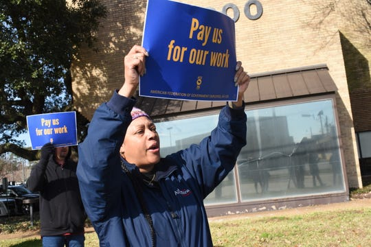 American Federation of Government Employees members rallied in Alexandria Friday to bring awareness to the plight of federal workers affected by the government shutdown. Employees at Federal Correctional Complexes at Pollock and Oakdale are expected to work, but aren't getting paid.