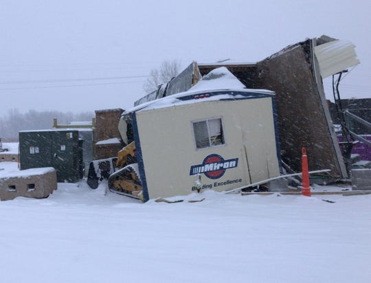 Damage done on the construction site at the future Fox Cities Champion Center in January.
