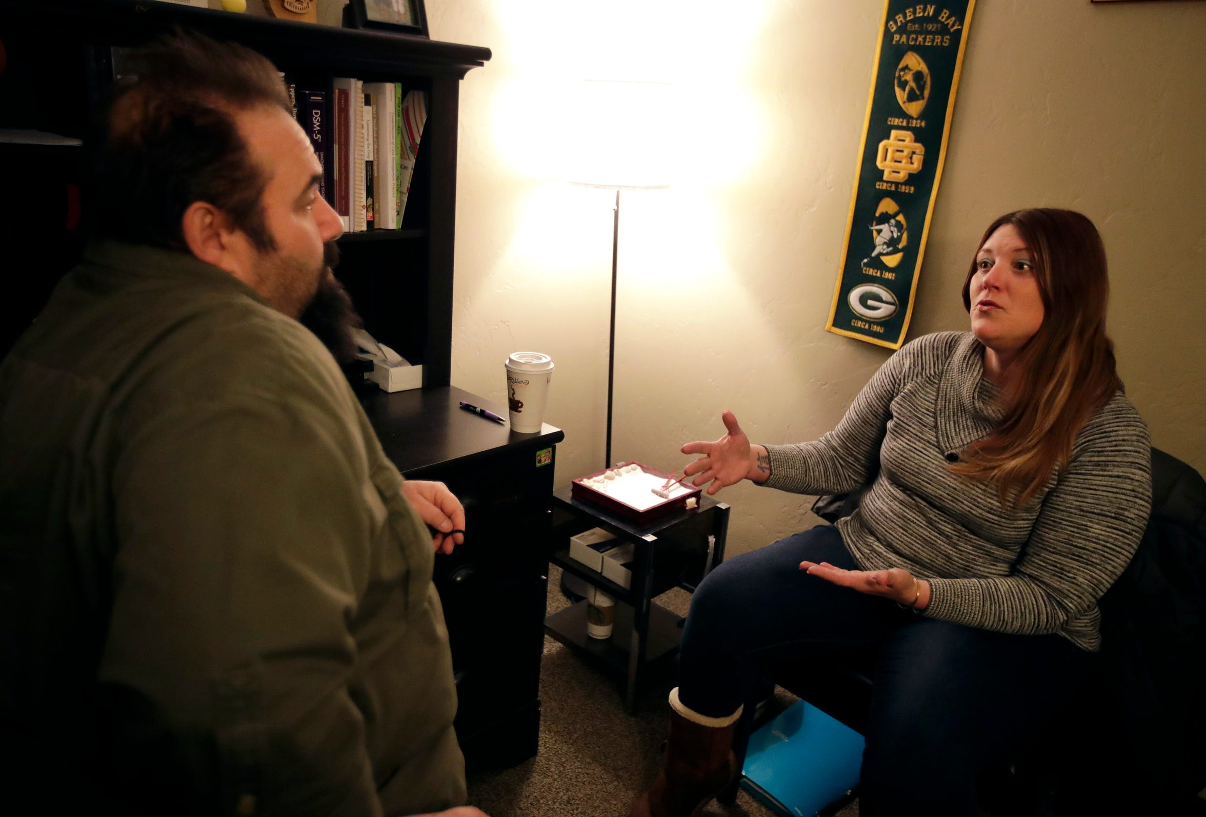 Melissa O'Krueg sits down with substance abuse counselor Patrick Carlson at Addiction Medical Solutions, an opioid treatment program in Oshkosh.