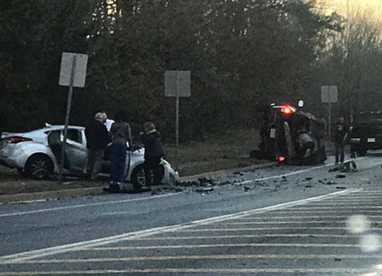 The scene of the crash on Whitesville Road near Cleveland Street in Toms River on Thursday afternoon.