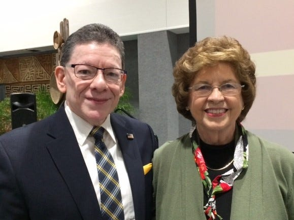 Paul Matta meets with Dr. Sandy Hazelip at a dinner honoring her for her work with the Zambia Mission.