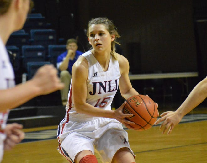 Jim Ned's Jennah Coffman runs the offense in the Lady Indians' Class 3A bi-district playoff game against Colorado City in 2015. Jim Ned won the game 50-44 at the Junell Center in San Angelo.
