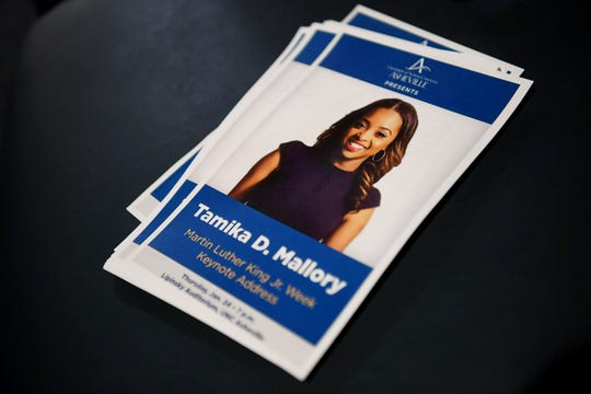 Tamika Mallory, national co-president of the Women's March, gives the keynote address for Martin Luther King Jr. Week at UNCA's Lipinsky Auditorium Jan. 24, 2019. Mallory has been the subject of criticism in the past year for refusing to condemn Nation of Islam leader Louis Farrakhan, who regularly makesanti-Semitic, homophobic and otherwise offensive remarks.