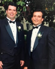 John Boyle, left, with his best man, Jacob Murphy, at Boyle's wedding in 1994.