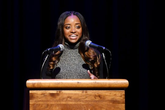 Tamika Mallory, national co-president of the Women's March, gives the keynote address for Martin Luther King Jr. Week at UNCA's Lipinsky Auditorium Jan. 24, 2019. Mallory has been the subject of criticism in the past year for refusing to condemn Nation of Islam leader Louis Farrakhan, who regularly makes anti-Semitic, homophobic and otherwise offensive remarks.