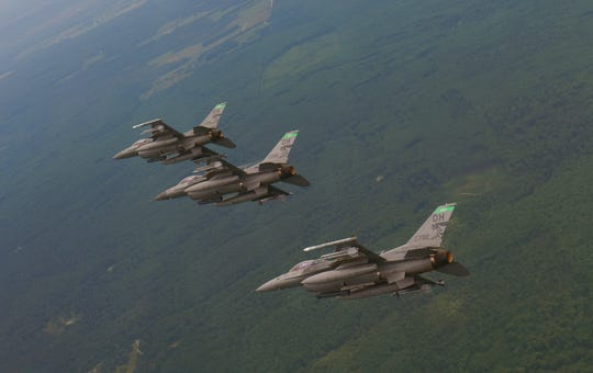 180th Fighter Wing F-16 Fighting Falcons fly over Ohio and Michigan in 2015. F-16s from the wing will come to Patrick AFB for join training exercises.