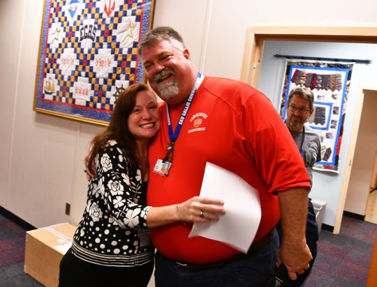 Shannon Kraeling, a ceramics teacher at Eau Gallie High School has been named Brevard's 2019 Teacher of the Year. Eau Gallie principal Jeremy Salmon gave Kraeling a big congratuatory hug when she arrived at school.