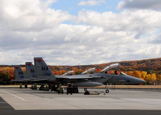 F-15 Eagles from the 104th Fighter Wing, Massachusetts Air National Guard, stand ready to deploy in 2015. Eagles from the wing will come to Patrick AFB for joint training exercises.