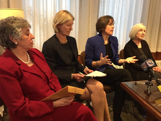 House Speaker Mitzi Johnson, second from right, and House committee leaders react to Gov. Phil Scott's budget address Thursday, Jan. 24, at the Statehouse in Montpelier.