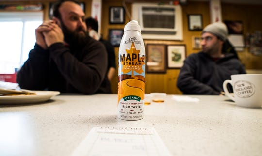 The Free Press tested out Maple Stream, a new maple syrup in a can from Coombs Family Farms, with the breakfast crowd at Handy's Lunch on Maple Street in Burlington on Friday, Jan. 25, 2019.