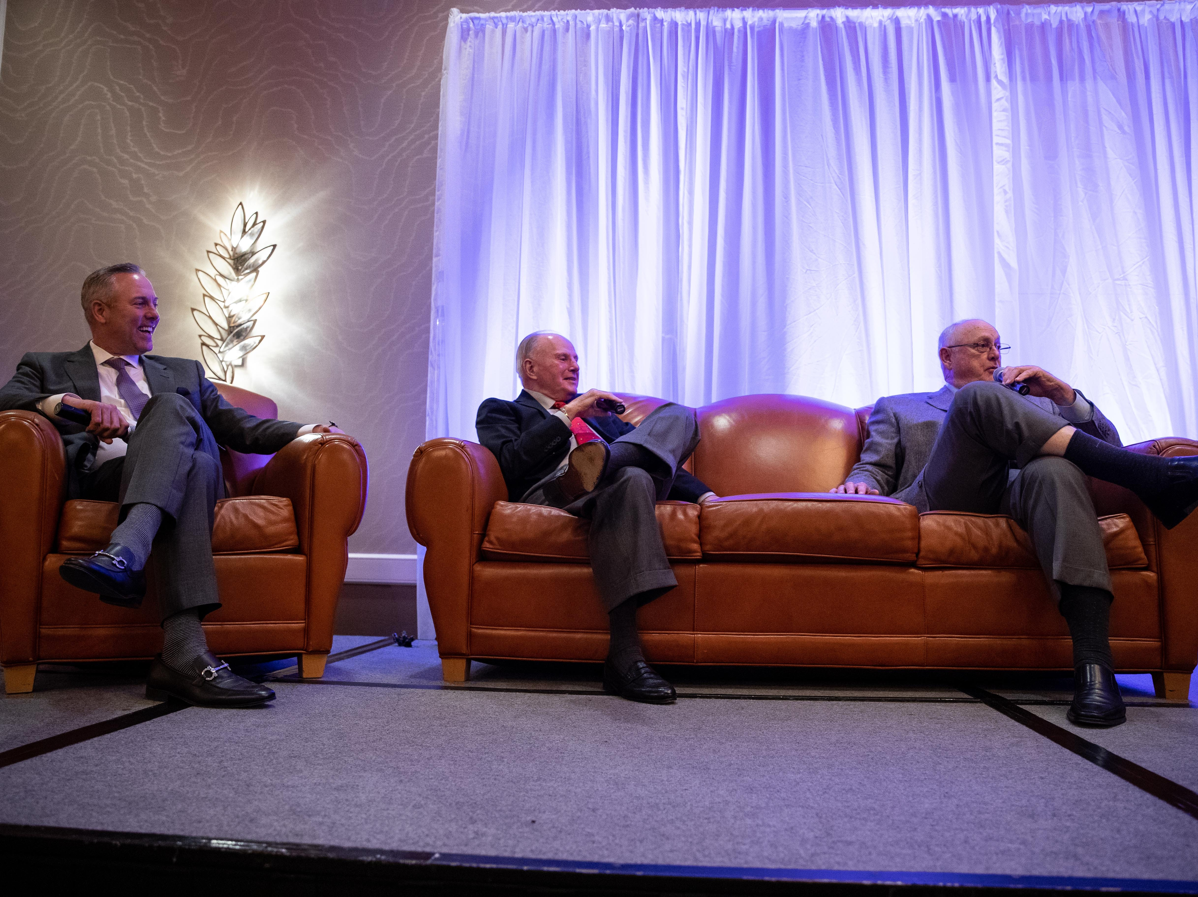 Huston Astros President Reid Ryan and his father Nolan Ryan talk about Don Sanders during the Hooks South Texas Baseball Banquet at the Omni Hotel on Thursday, Jan. 24, 2019.