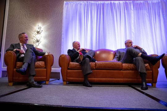 Houston Astros President Reid Ryan and his father, Nolan Ryan, talk about Don Sanders during the Hooks South Texas Baseball Banquet at the Omni Corpus Christi hotel on Thursday, Jan. 24, 2019.