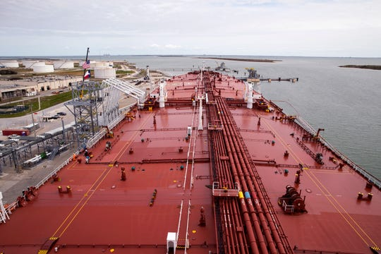 A view of Moda Ingleside Energy Center in Ingleside and the Aral, which is a very large crude carrier, on Friday, January 25, 2019. Moda Midstream is a liquids terminaling and logistics company that provides independent terminal, storage and distribution solutions to refiners, petrochemical manufacturers, marketers and producers of crude oil, condensate, NGLs, refined products and other bulk liquids.