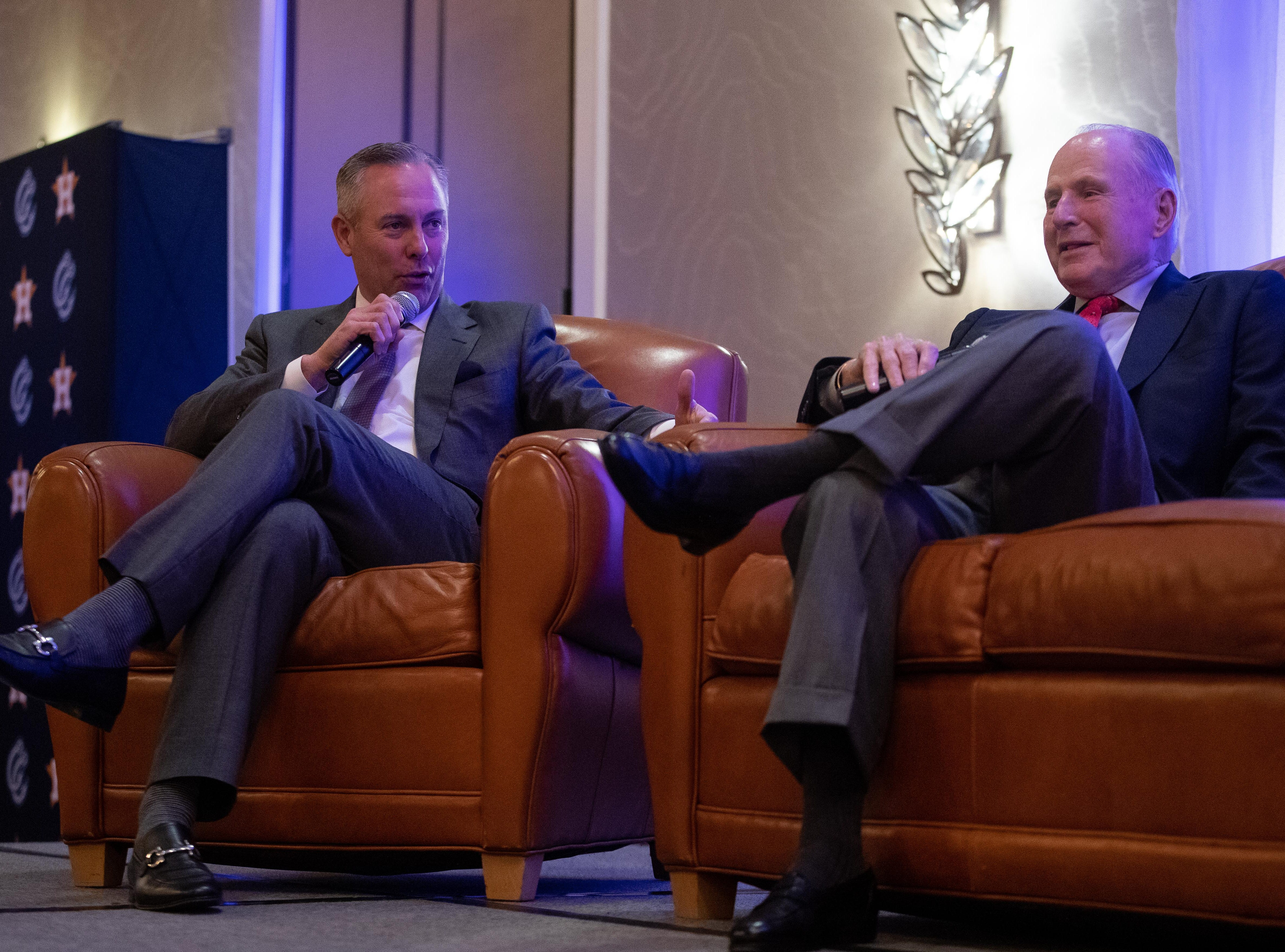 Huston Astros President Reid Ryan tells a story about Don Sanders during the Hooks South Texas Baseball Banquet at the Omni Hotel on Thursday, Jan. 24, 2019.