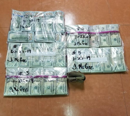 South Texas Specialized Crimes and Narcotics Task Force  agents seized cash strapped to a man's torso and hidden in a vehicle during a traffic stop in Brooks County on Wednesday, Jan. 23, 2019.