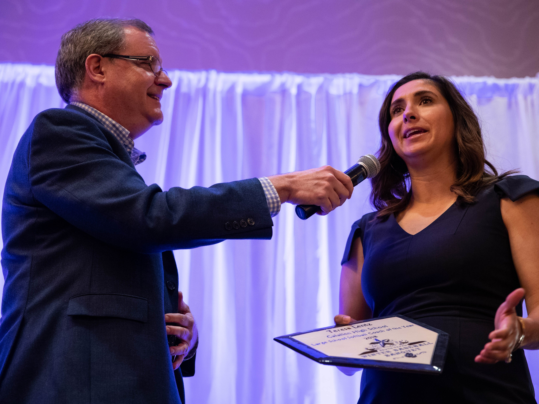 Teresa Lentz receives the big school softball coach of the year award during the Hooks South Texas Baseball Banquet at the Omni Hotel on Thursday, Jan. 24, 2019.