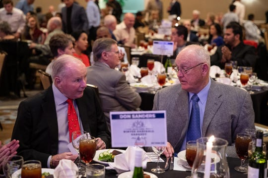 Don Sanders and Nolan Ryan share a moment during the Hooks South Texas Baseball Banquet at the Omni Corpus Christi hotel on Thursday, Jan. 24, 2019.