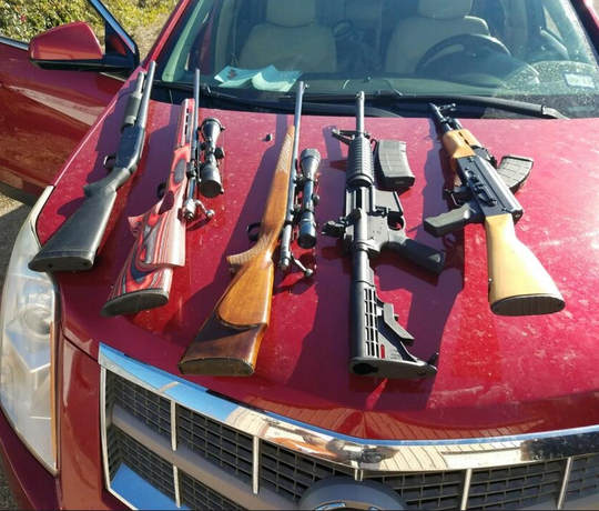 South Texas Specialized Crimes and Narcotics Task Force agents seized weapons during a traffic stop in Klebarg County on Thursday, Jan. 24, 2019.