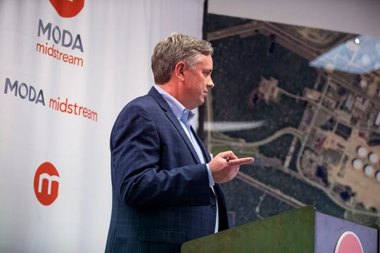 Moda Midstream CEO Bo McCall speaks before a tour of the facility in Ingleside on Friday, January 25, 2019. Moda Midstream is a liquids terminaling and logistics company that provides independent terminal, storage and distribution solutions to refiners, petrochemical manufacturers, marketers and producers of crude oil, condensate, NGLs, refined products and other bulk liquids.