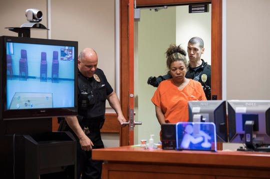 Antoinette King of Lumberton appears in court for a detention hearing Friday, Jan. 25, 2019 at Burlington County Superior Court in Mount Holly, N.J. She is charged with endangering the welfare of a minor in connection with the death of her son and will be released until trial.