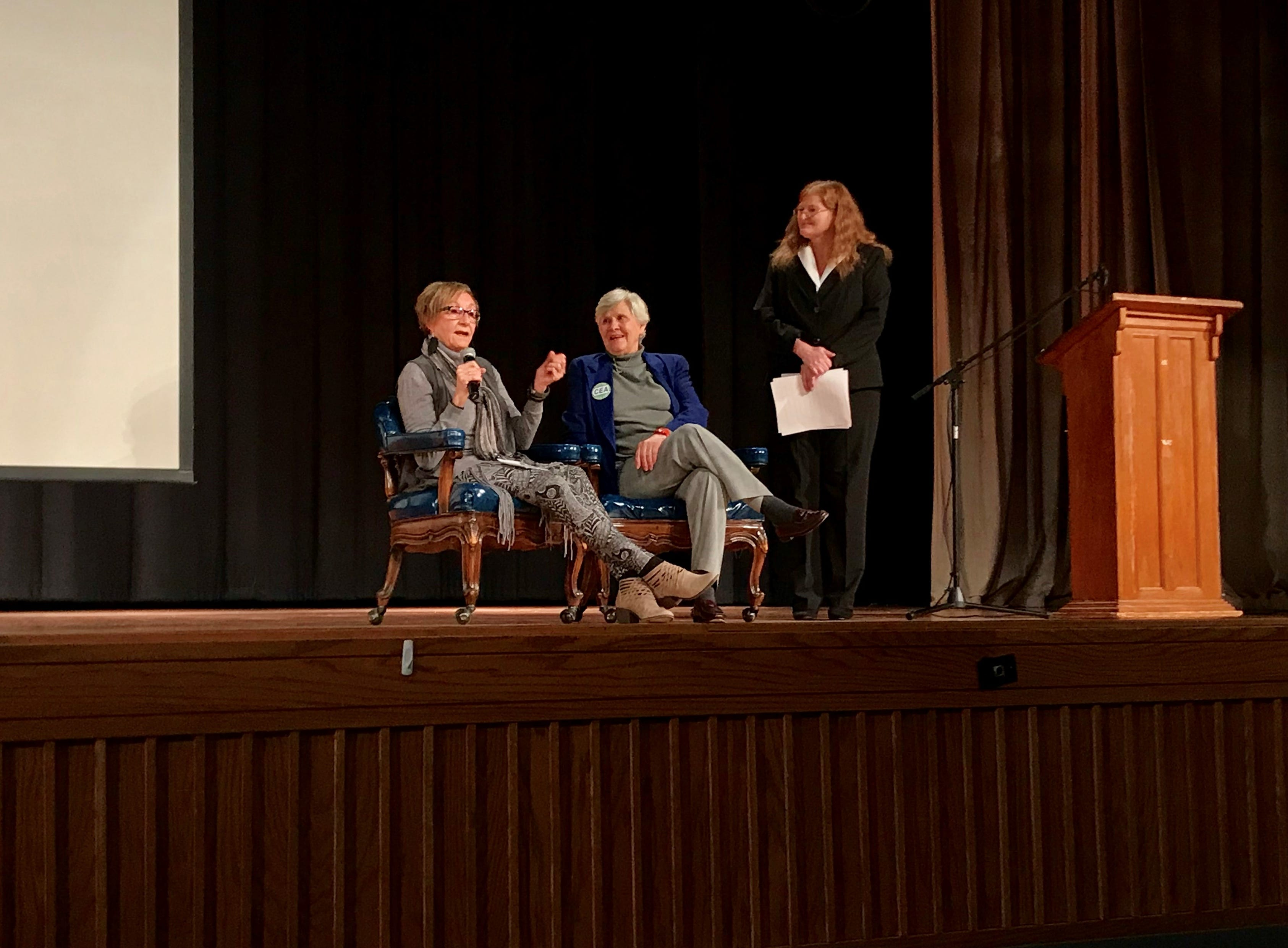 Sally Rathkamp, Sharon Verhoff and Tess Baker are onstage during the Educator Emeritus program on Friday. Verhoff and Rathkamp were honored during the event.