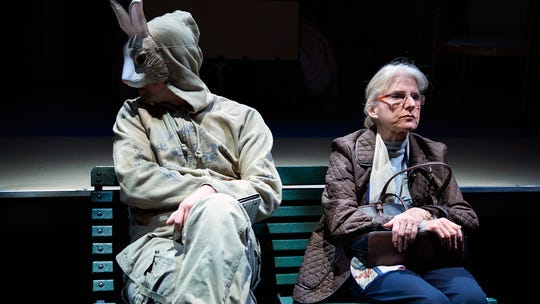 """In one of her rare excursions beyond the safety of her assisted living facility, Abby (Dale Hodges) is confronted by an oddly disguised hold-up man, played by Carter Bratton. But as with so much in """"Ripcord,"""" which is playing at Ensemble Theatre Cincinnati through Feb. 16, nothing in this scene is quite what it seems to be."""