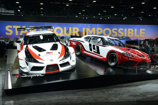 The 2019 Supra Xfinity Series Race Car, on display here at the North American International Auto Show in Detroit, Michigan, produces more than 700 horsepower and can make the earth shake with its roar. The car will be on display at the Cincinnati Auto Expo.