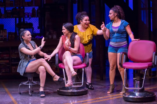 "Life in the neighborhood beauty salon is always spirited and sassy in the Playhouse in the Park's co-production of ""In the Heights."" Seen here are (from left) Vanessa (Stephanie Gomérez), Nina (Sophia Macías), Daniela (Lillian Castillo) and Carla (Alyssa V. Gomez). The show runs through Feb. 17."