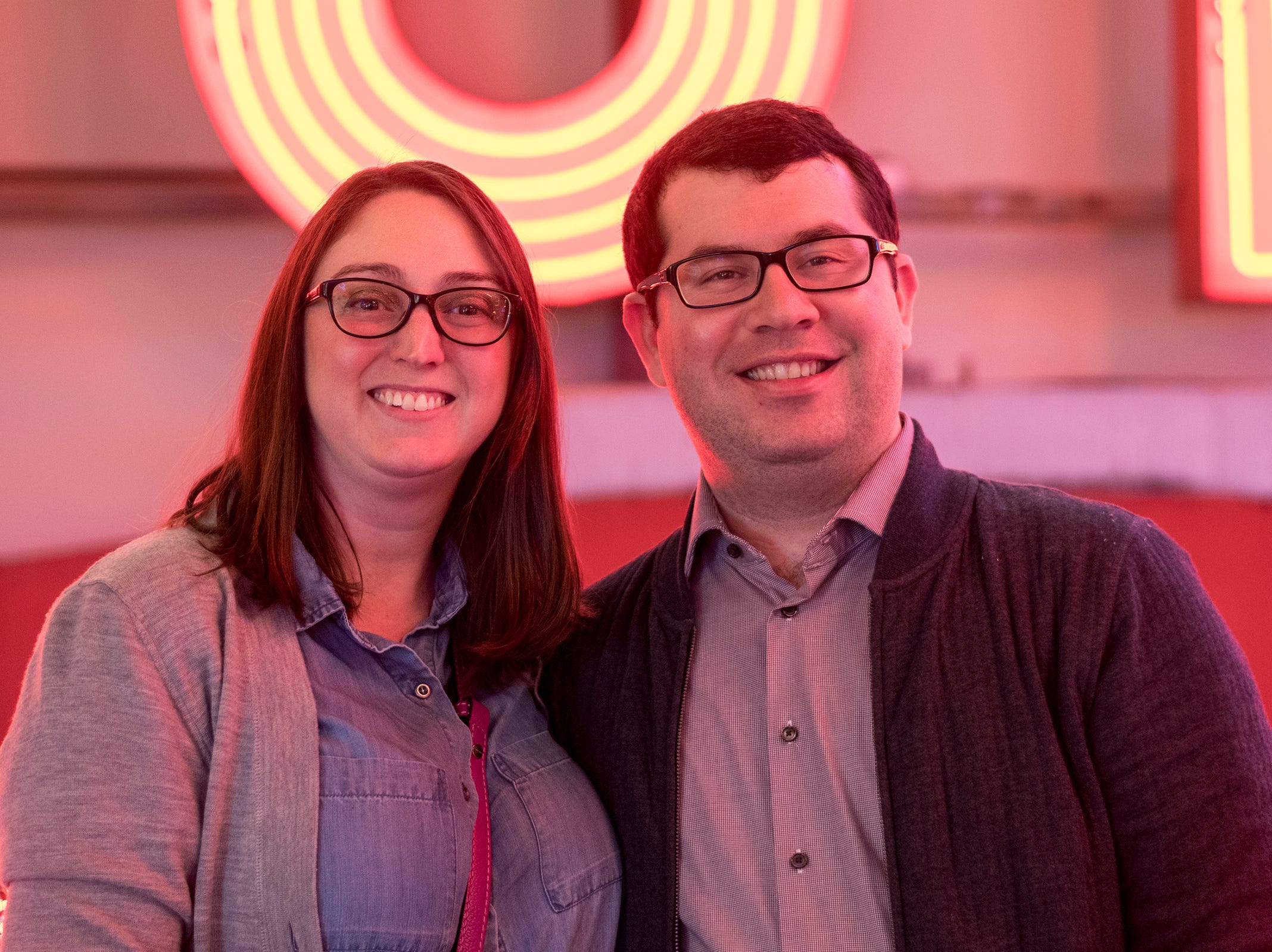 Michelle and Tyler Wall of Hyde Park attend Signs and Suds, featuring Rhinegeist beers at the American Sign Museum Thursday, January 24, 2019 in Cincinnati, Ohio.