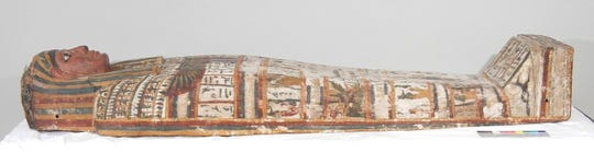 "The coffin of Ta-Khar is among artifacts on display in ""Egypt: The Time of Pharaohs"" at the Cincinnati Museum Center in February."