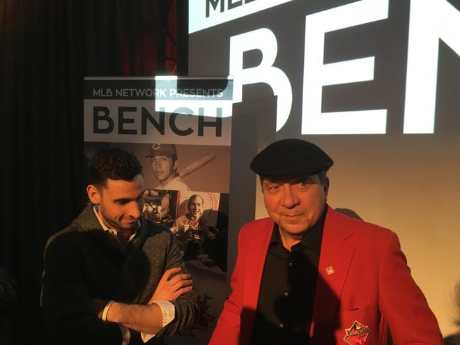 "Jan. 23, 2019; Johnny Bench, right, talks with the media and producer Tony Ferraiolo, left, after watching a screening of ""MLB Network Presents: Bench"" at Great American Ball Park."