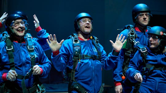 """In this scene from the Ensemble Theatre Cincinnati's production of """"Ripcord,"""" Abby (Dale Hodges, R) unexpectedly finds herself high in the sky and about to experience her first skydiving adventure. With her (from left) are Pamela Myers, Lisa DeRoberts (background), Justin McCombs and Carter Bratton."""