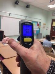 A Perth Amboy classroom registering a temperature of 58.2 degrees.