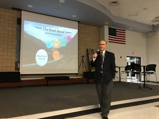 Old Bridge Public School District BusinessAdministrator/Board Secretary Joseph Marra discussed the district's budget crisis at a Superintendent Forum on Thursday night.