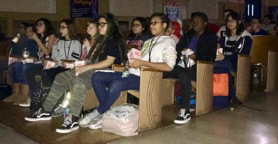 "Students in the Soehl Tigers Club watching ""Smallfoot,"" which was set up as a special perk for club members."