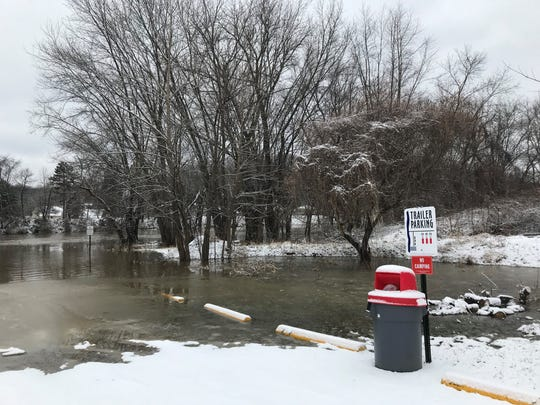 The 2nd Street boat ramp was under water by Thursday afternoon. Waters continue to rise in Coshocton County.