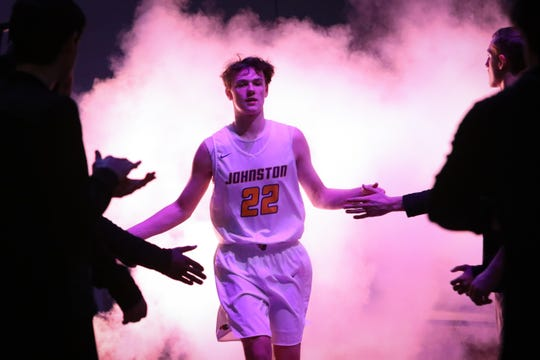 Johnston sophomore Reid Grant is introduced before the boys high school basketball game between the Fort Dodge Dodgers and the Johnston Dragons at Johnston High School on Jan. 24, 2019 in Johnston, Iowa.