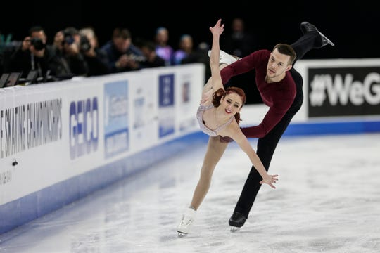 Tarah Kayne and Danny O'Shea, who was born in Pontiac, perform pairs shorts program during the 2019 U.S. Figure Skating Championships at Little Caesars Arena in Detroit, Thursday.