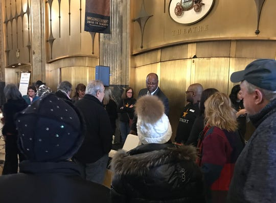 A crowd waits patiently in the Fisher Building lobby for the start of the 'Hamilton' ticket lottery Friday morning in Detroit.