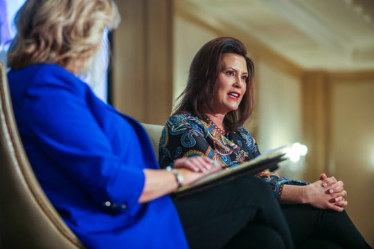 Michigan Governor Gretchen Whitmer speaks with Free Press columnist Carol Cain during the Detroit Free Press Breakfast Club Series sponsored by DTE Energy at the Townsend Hotel on Jan. 18 in Birmingham.
