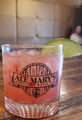 Raspberry Citrus Hemparita, a cocktail with ingredients including citrus cannabidiol soda, is available at Ale Mary's in Royal Oak.