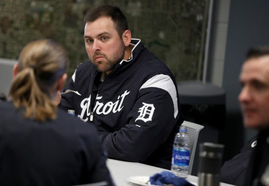 Detroit Tigers' Michael Fulmer listens to Novi police officers during a lunch at the police station during the 2019 Detroit Tigers Winter Caravan at the Novi Civic Center on Thursday, Jan. 24, 2019.