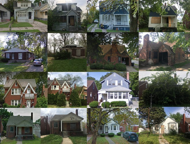 Before and afters of homes lost to tax foreclosure and subsequently sold in the Wayne County Tax Auction in 2012 and 2013.