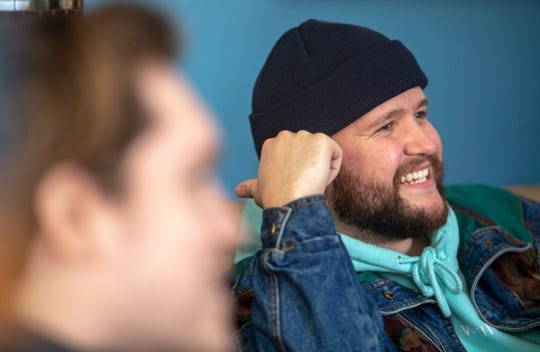 "Pop artist Quinn XCII makes a stop to share his new album, ""From Michigan With Love,"" at a listening party at John Adamkiewicz's house in Dearborn Heights, Mich. on Friday, Jan. 25, 2019."