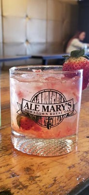 Mellow Melon, a cocktail with ingredients including melon cannabidiol soda, is available at Ale Mary's in Royal Oak.