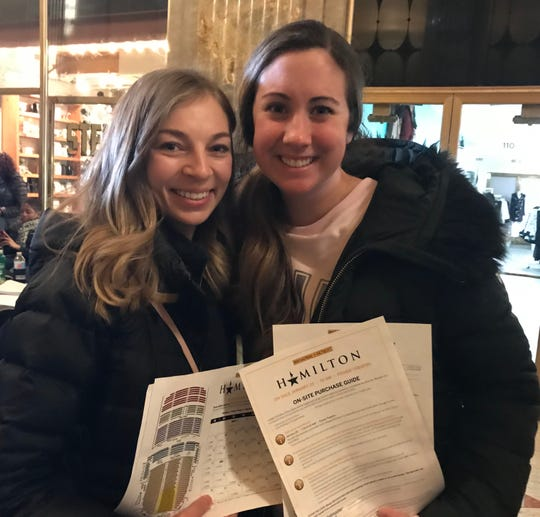 Miranda Hancock and  Alana Keigher were among the hundreds of hopeful ticket buyers for 'Hamilton' on Friday morning at Detroit's Fisher Theatre.